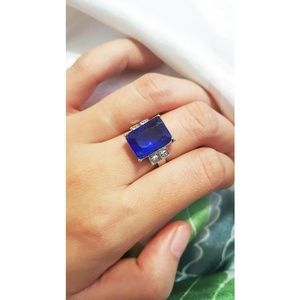 Blue Square Sapphire Silver Ring